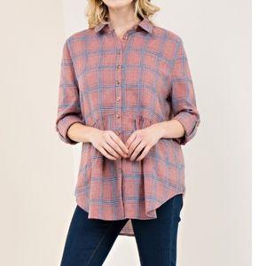 Josie Plaid Peplum Button Up Flannel Tunic Blouse